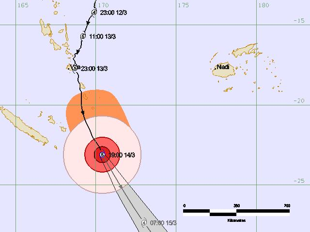 Track of cyclone Pam