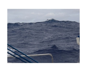 Big seas! The view over the side of Anastasia yesterday